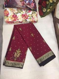 (BN) Deepavali Clearance Sale Only from 9th Oct - 6th November - Red Designer Silk Cotton Saree