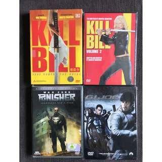 DVDs - Set of 4 (Kill Bill 1 / Kill Bill 2 / Punisher - War Zone / GI Joe - Rise of Cobra)