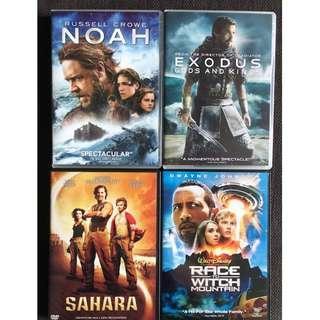 DVDs - Set of 4 (Noah / Exodus - Gods & Kings / Sahara / Race to Witch Moutain)