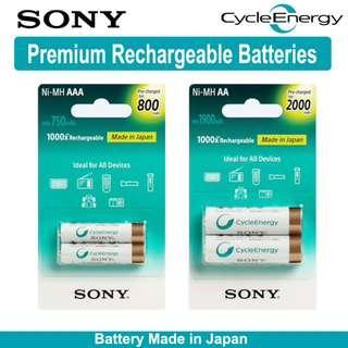 Sony CycleEnergy AA / AAA Ni-Mh Rechargeable Battery - Made In Japan