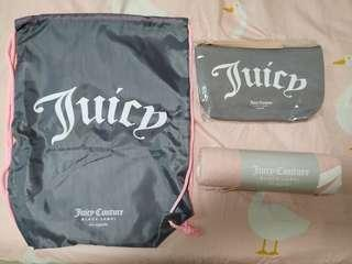 Juicy Couture 禮品包 (索繩袋 + 化妝萬用袋 + 巾)