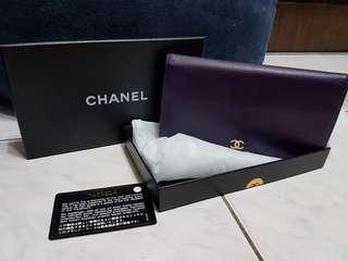 🚚 正品Chanel 深紫色牛皮長夾