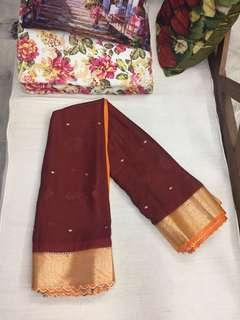 (BN) Deepavali Clearance Sale Only from 9th Oct - 6th November -Brown Orange Combination Silk Cotton Saree