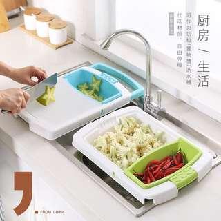 家用伸縮多功能水槽切菜板 切水果蔬菜砧 佔板 廚房小案板 瀝水收納籃