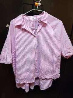 🚚 粉色不規則襯衫
