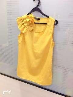 Mustard Yellow Cute Ribbons S/less top #MY1010