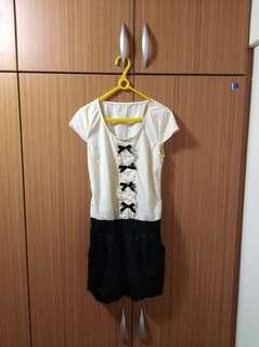 💕米色蝴蝶結連身裙