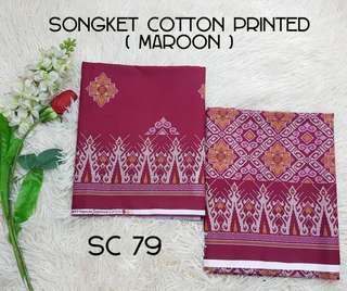 Kain cotton songket printed