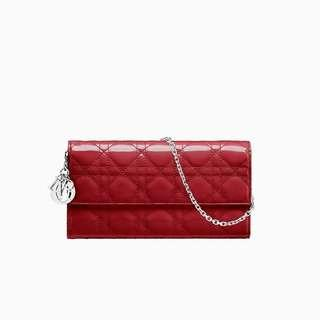 """Authentic Lady Dior Croisiere Wallet in Red Patent """"Cannage"""" Calfskin"""