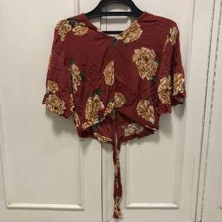 Floral Cropped Backless Top