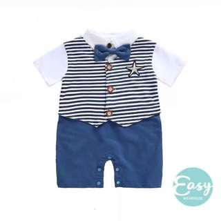 Baby Boy Infant Gentleman Bodysuit Romper With Bowtie Outfits
