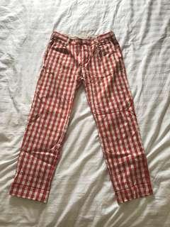Red Gingham Uniqlo Pants