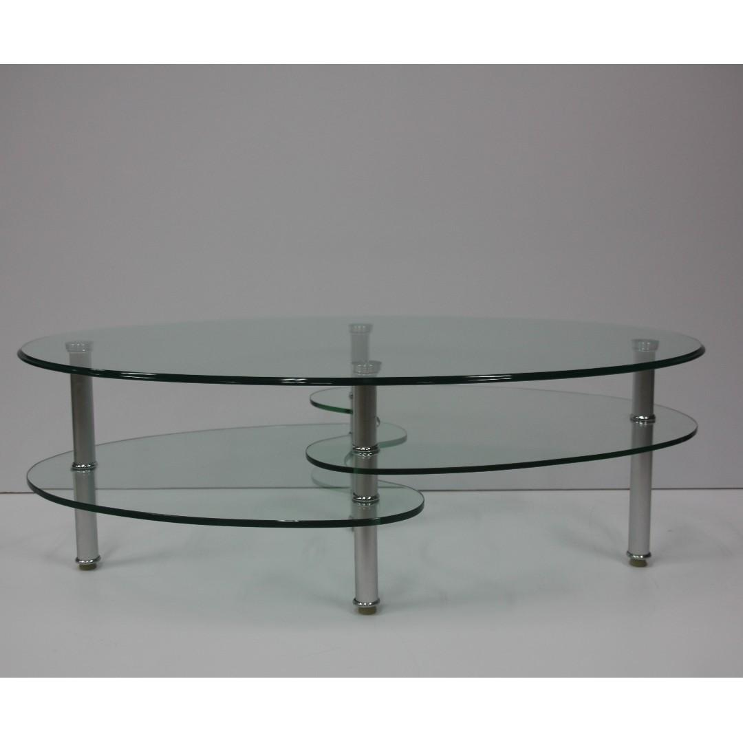 Admirable 2 Layer Oval Tempered Glass Coffee Table Furniture Tables Machost Co Dining Chair Design Ideas Machostcouk