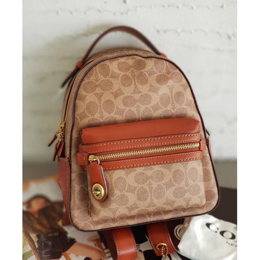 3d3925896 Authentic Coach Campus Backpack 23 In Signature Coated Canvas - Khaki on  Carousell