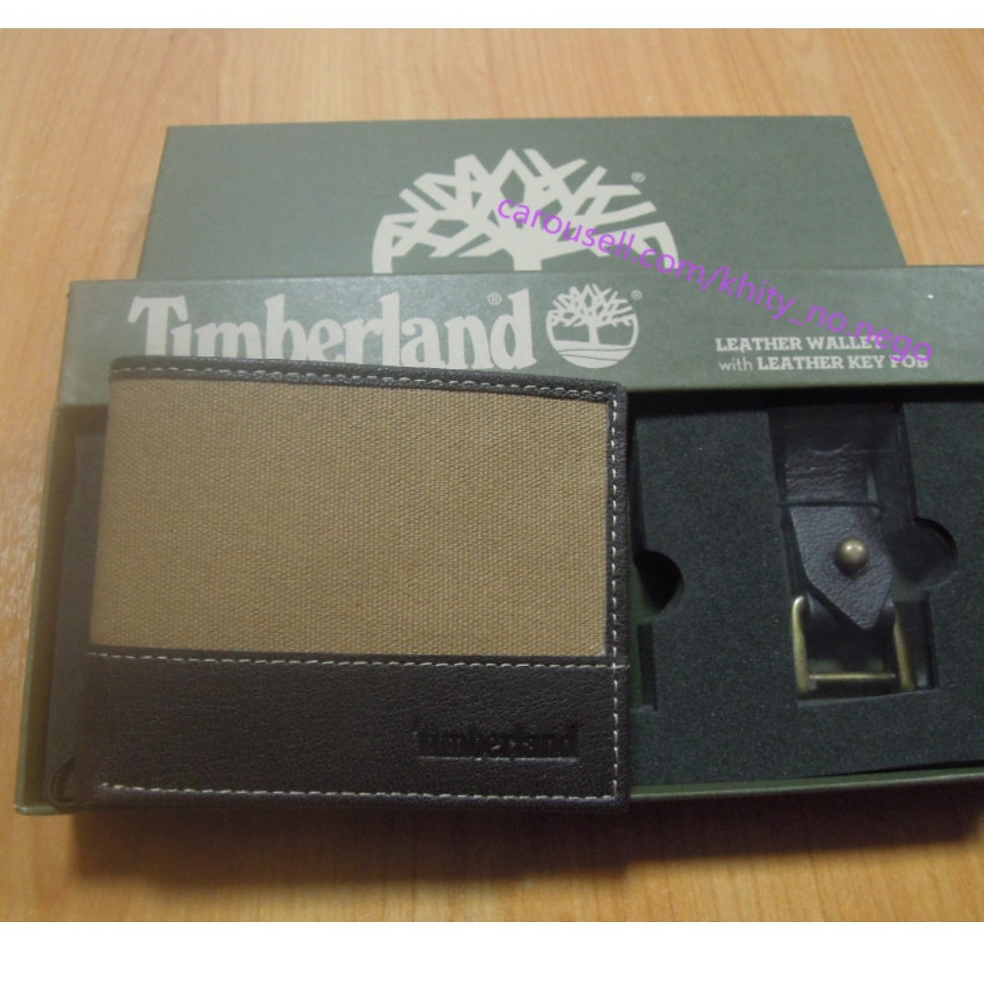 f298ec911d24 AUTHENTIC Timberland Men s Leather canvas wallet bifold with key fob ...
