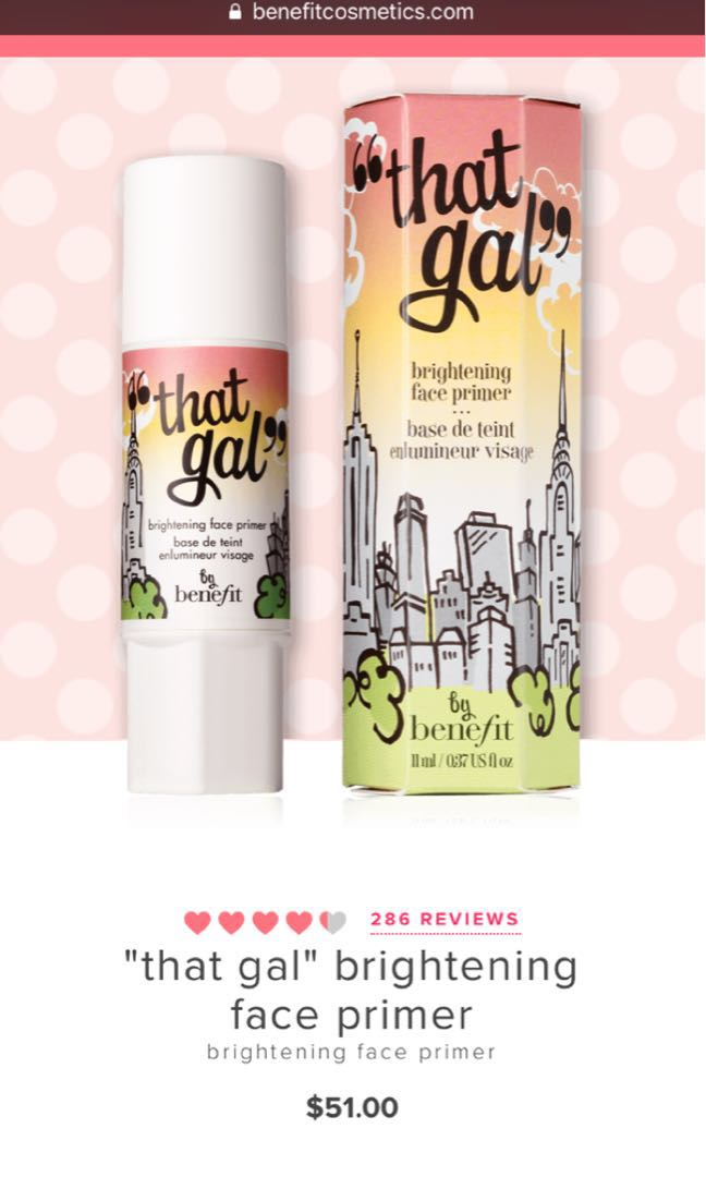 """62753340c9a Benefit """"That Gal"""" Brightening Face Primer, Health & Beauty, Makeup on  Carousell"""
