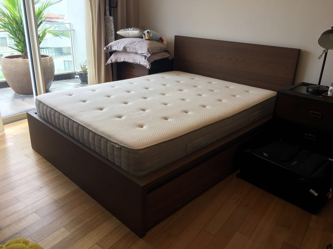62b9f7dcb8b Brown Ikea Queen Size Malm Bed Frame