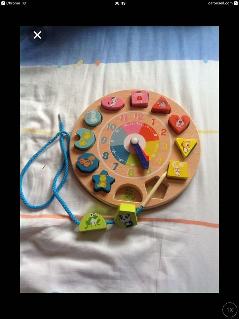 Clock, Shapes Wood Puzzle and Lacing