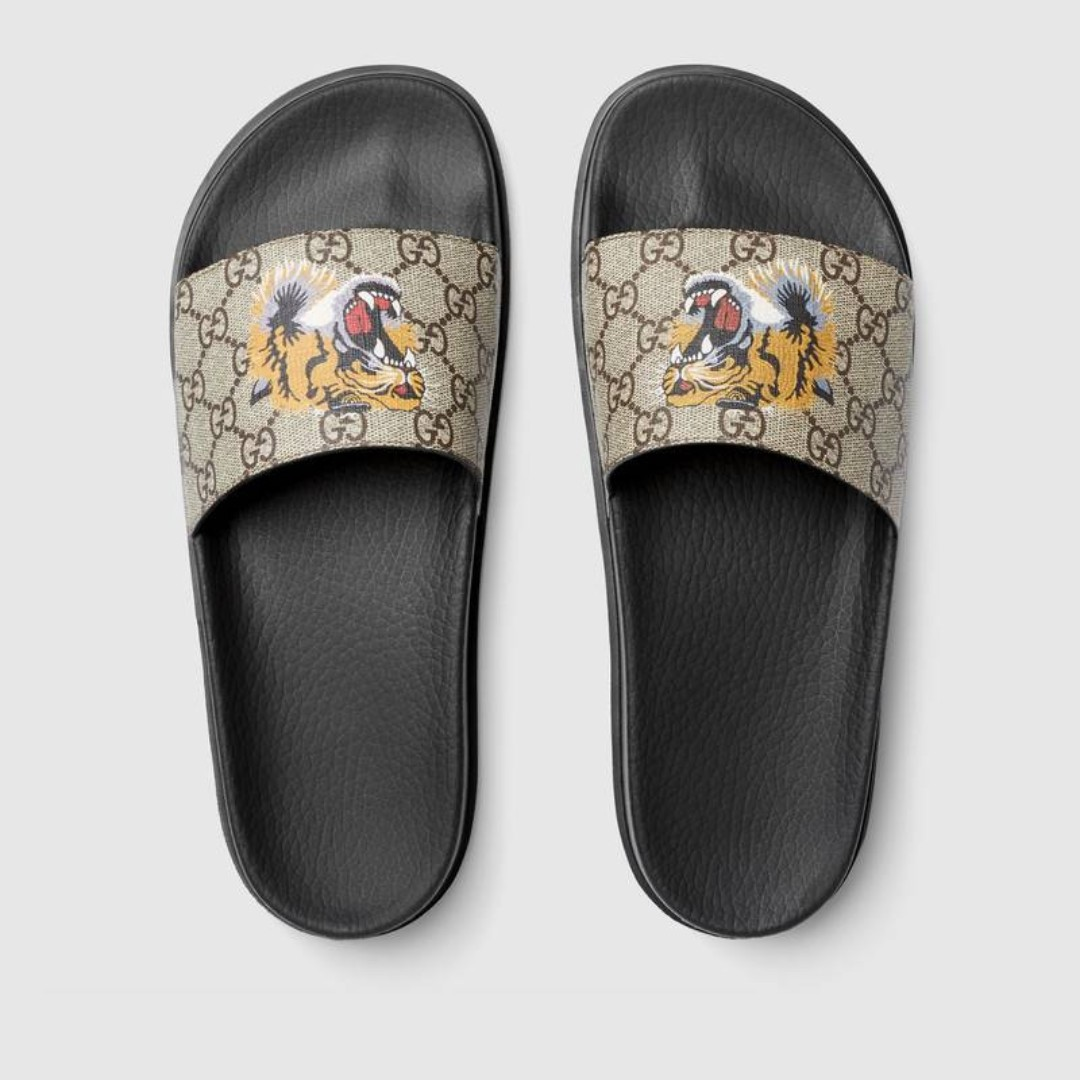 20cdcd09be0c36 Gucci GG Supreme Tiger Slide Sandal