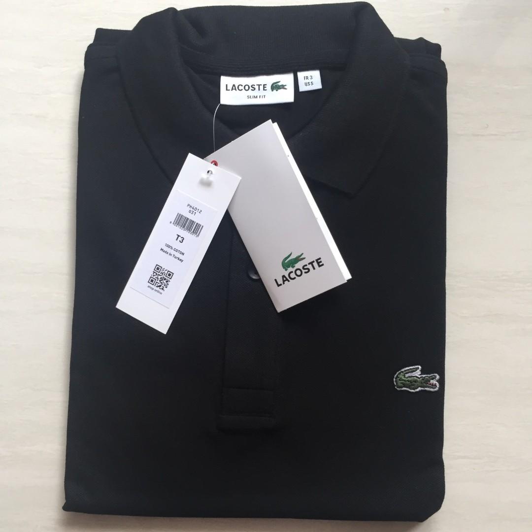 04c79c92 Lacoste Slim Fit Polo Shirt Black, Men's Fashion, Clothes, Tops on ...