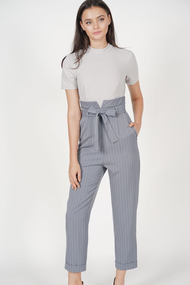 953393f5429 MDS Contrast Tie Jumpsuit in Grey Stripes