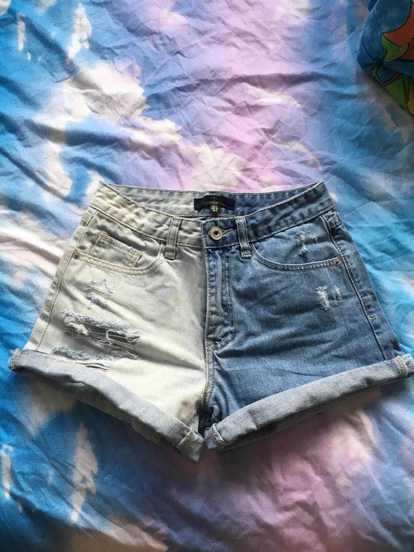 59b1a504f7 missguided two tone ripped distressed high waisted denim shorts ...