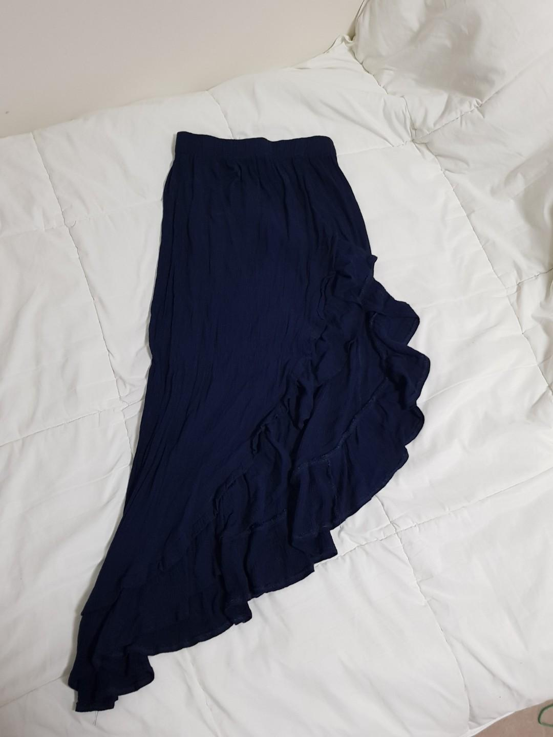 Navy Flowy Skirt w/ slit