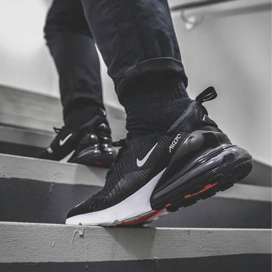 "best service b02e0 cdffc Nike Air Max 270 ""Black/White/Solar Red"", Men's Fashion, Footwear ..."