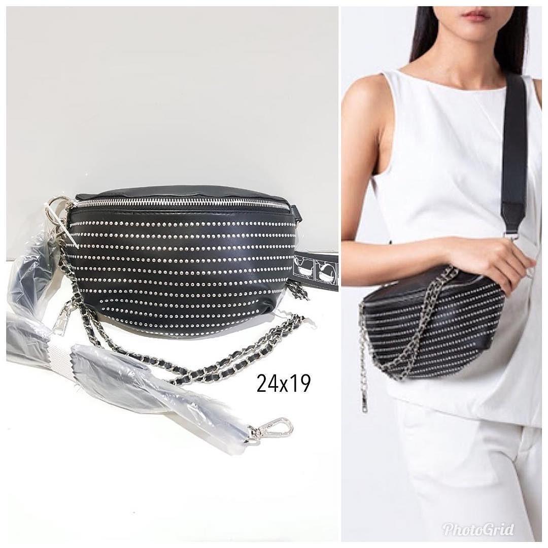 30faf0789a6 Steve madden Bmandie Black Studded belt bag sz 24 x 16 cm