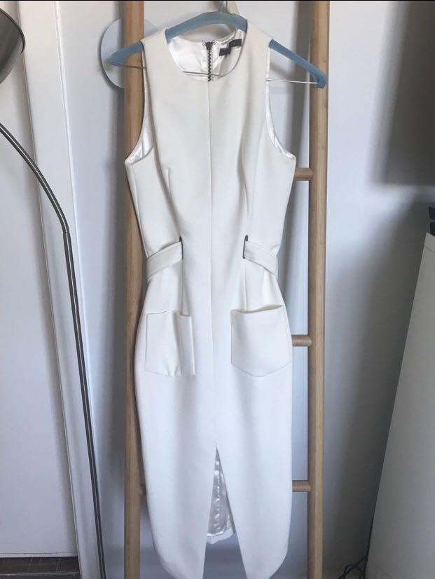 STUNNING Sheike Classy White Midi Dress - Size 6/8 - As New Condition
