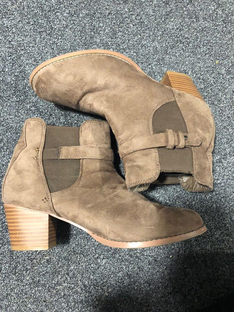 Taupe suede boots
