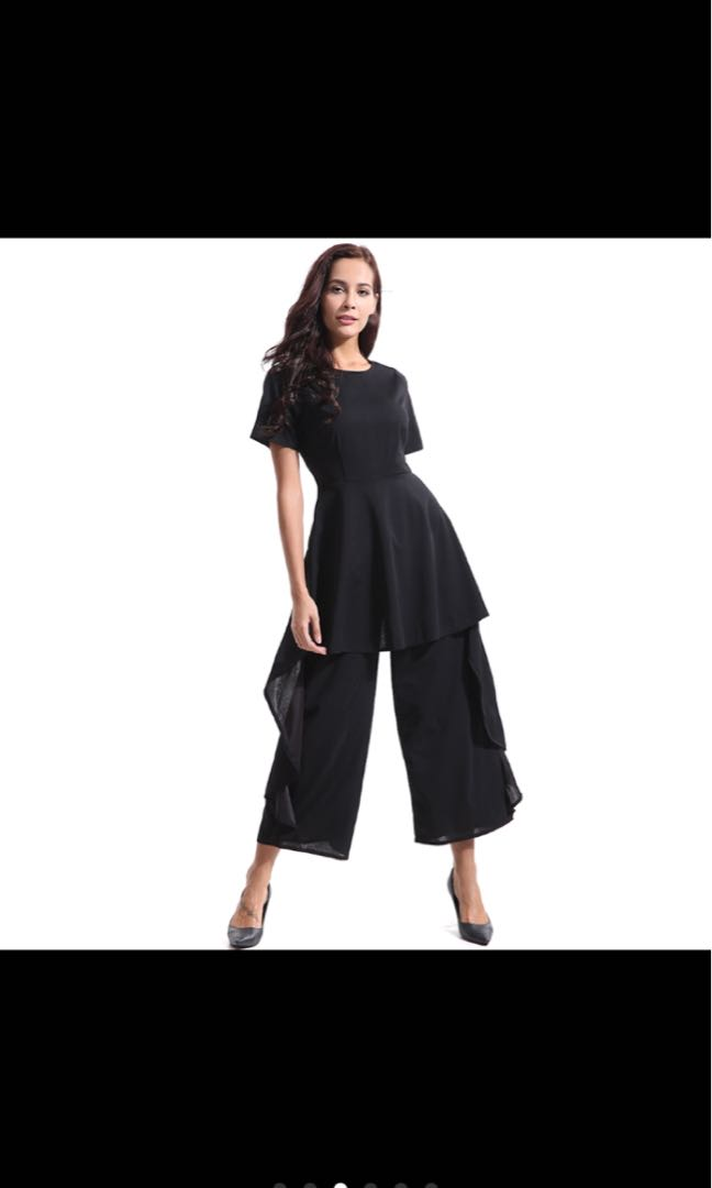 bd7403a031cc Womens Short Sleeve Ruffle Trim Wide Leg High Waist Jumpsuit ...
