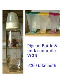 Pigeon glass bottle