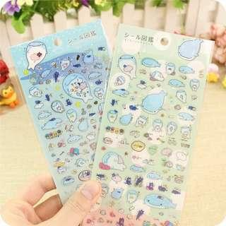 🚚 [In stock] Gold Foil Jinbei San Whale Stickers