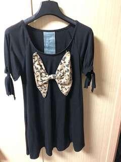 🚚 日本titty&Co. 豹紋蝴蝶結洋裝