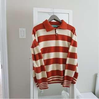 White & orange striped rugby longsleeve