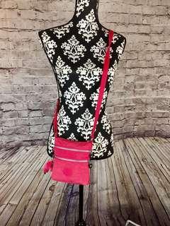 KIPLING Vibrant Pink Fabric Shoulder Crossbody Pouch Bag w/Emmy Keychain