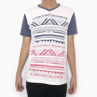 SALE! V-Neck White Aztec Shirt