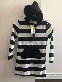 Brand New Striped Long Sleeve Girls Hooded Dress
