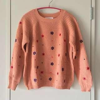 Tokyo Fashion Pink Embroidered Flowers Jumper Size S