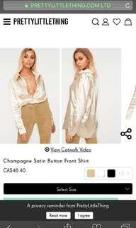 Pretty Little Thing Champagne Silk Top