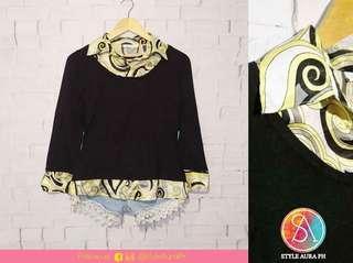 Black Retro-Collar Sweater