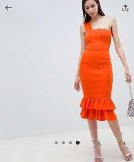 [BNWT] ASOS One Shoulder Scallop Pephem Midi Dress