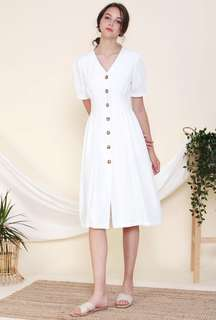 c822560926bb The Willow Label KYM Pintuck Midi Dress (white) size S