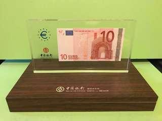 全新2002年中國銀行$10歐元紙鎮紀念品