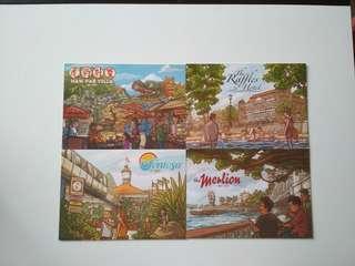 🚚 [WTS/WTT] Iconical Singapore Scenes Postcards/Zocards: F1 Grand Prix, Tourism Board:Raffles Hotel, Haw Par Villa, Sentosa, Merlion & Marina Barrage. Suitable For Postcrossing.  See All Pics.
