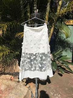 Mia Alice McCall styled flower mesh skirt white