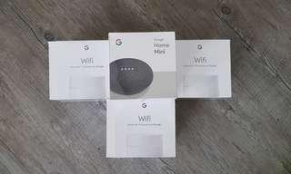 Google Mesh Routers 3pcs and Google Home Mini