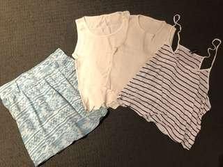 ⭐️White tops with baby blue bohemia style skirt (4 pieces)