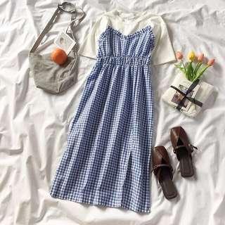 👍Korean baby blue checked dress